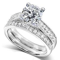 Forever One Round Moissanite & Diamond Bridal Set 1 1/3 CTW in 14k White Gold