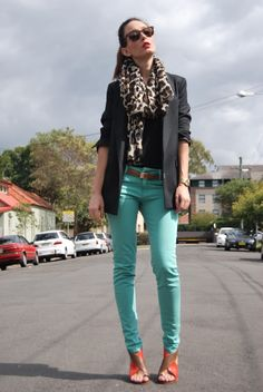 Gotta get some red or turquoise jeans in my life:)