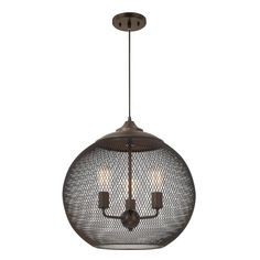 Illuminate your foyer, dining room, or den in industrial-chic style with this 3-light pendant, featuring a mesh globe shade and burnished bronze finish.