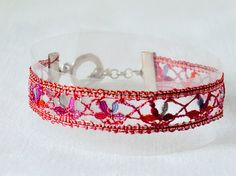bracelet handmade bobbin lace out of yarn red silver by UliBaysie, €39.90
