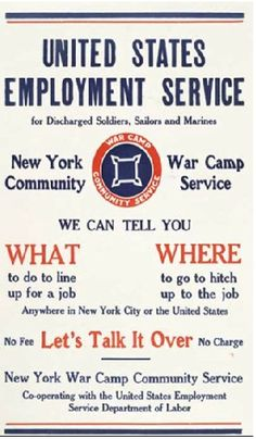US Employment Service, WWI - America