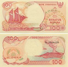"Indonesia 100 Rupiah 1999 Obverse: Traditional Indonesian sailing cargo boat - Perahu Pinisi (Phinisi); Reverse: Erupting ""Son of Mountain"" Krakatau volcano - Anak Gunung Krakatau. Money Notes, Old Money, Travelogue, Coin Collecting, Water Crafts, Vintage World Maps, Coins, Things To Come, History"
