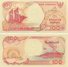 """Indonesia 100 Rupiah 1999    Obverse: Traditional Indonesian sailing cargo boat - Perahu Pinisi (Phinisi); Reverse: Erupting """"Son of Mountain"""" Krakatau volcano - Anak Gunung Krakatau."""