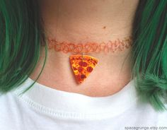 SpaceGrunge - 90's Plastic Stretch Pizza Choker via Etsy ok I need this right now. shut up and take my money