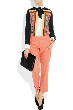 Sandro printed Silk and crepe blouse $385
