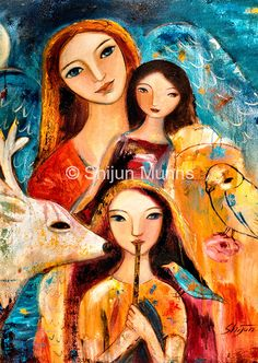 Fine Art Card set of Mother and Child collection 4 by ShijunArt