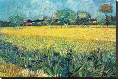 Stretched Canvas Print: View of Arles with Irises by Vincent van Gogh : 20x29in