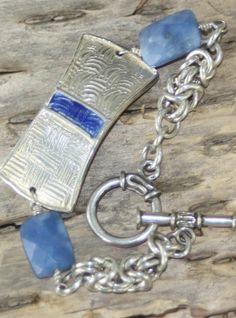 Got the blues bracelet, PMC, enamel and sterling byzantine links
