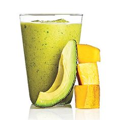 1/4 cup sliced avocado   1 cup sliced Champagne mango   1 tablespoon lime juice   1 tablespoon fresh mint   1 teaspoon honey   2 cups crushed ice  191 CALORIES