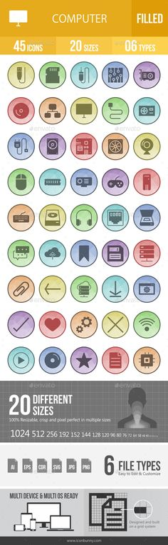 Computer Hardware Filled Low Poly B/G Icons
