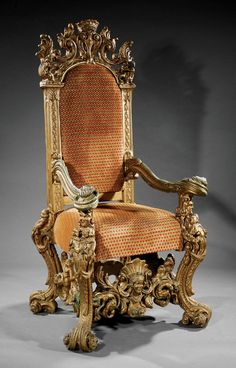 A Monumental Italian Baroque-Style Carved Giltwood Throne Chair, c., putti and crown foliate crest, blocked stil. Silver Furniture, Home Decor Furniture, Vintage Furniture, Furniture Design, King Chair, Throne Chair, Egyptian Furniture, Royal Chair, Diy Daybed