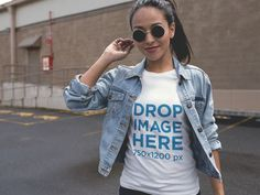 Mockup of a Girl Wearing a T-Shirt with a Denim Jacket in a Parking Lot a11733