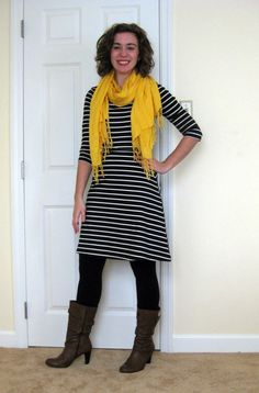 Striped Dress with Leggings and Yellow Scarf2