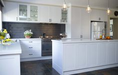 Perfect for entertaining, this country-style kitchen renovation in Mooroolbark features clever storage ideas and layers of white to brighten the space. Country Kitchen Renovation, Kitchen Doors, Painted Doors, Kitchen Styling, Country Style, Kitchen Design, Satin, Home Decor, Cuisine Design
