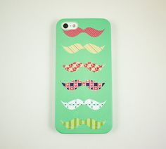 Mint Colorful Mustaches iPhone 5 Case iPhone 5 by happyrabbitz, $18.00