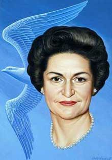 Lady Bird Johnson by Boris Artzybasheff. © Image is copyright of its respective owner, assignees or others. Behind Every Great Man, Presidents Wives, Johnson And Johnson, National Portrait Gallery, Great Women, Michelle Obama, Hair Dos, Powerful Women, December 22