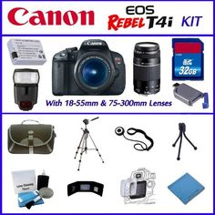 Canon EOS Rebel T4i 18MP - EF-S 18-55mm IS II - Canon EF 75-300mm f/4-5.6 III-32GB SDHC Memory Card - Digital Flash - Carrying Case - Lens Cleaner - Full Size and Mini Tripod - Plus Much More! by Canon. $969.95. This Kit Includes:  ~ Canon EOS Rebel T4i with 18-55mm IS II 3.5-4.6 Lens, Canon EF 75-300mm f/4-5.6 III, with standard accessories ~ Digital Flash  ~ Extra Battery ~ 32GB SDHC Memory Card ~Lens Cap Keeper ~ Deluxe DSLR Carrying Case  ~ Full Size Tripod  ~... Verona, Cinema Camera, Slr Camera, Telephoto Zoom Lens, Canon Eos Rebel, Canon Ef, Cleaning Kit, Card Reading, Digital Cameras