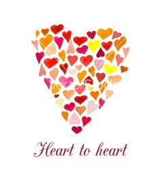 Heart made of little watercolor hearts vector - by nu_vot_eshe on VectorStock®