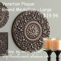 """Venetian Plaque Round Medallion - Large- The hand-sculpted, Venetian-inspired motifs & antiqued finish of our resin medallions are tasteful & timeless &can be mixed and matched to stunning effect. Large: 15"""" diameter  Check the price at-  http://karenkazmorck.store.willowhouse.com/search.aspx?keyword=venetian"""