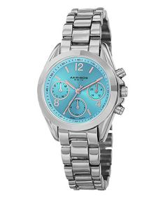 This Silvertone & Aqua Chronograph Watch is perfect! #zulilyfinds