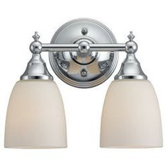 Seagull Lighting 2 Light 6'' Chrome Incandescent Vanity with Etched / White InsideGlass