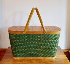 Green Woven Picnic Basket Burlington by CobblestonesVintage