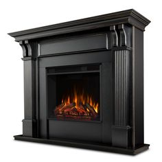 Indoor Electric Fireplace, Electric Fireplace With Mantel, Gel Fireplace, Fireplace Inserts, Fireplace Surrounds, Indoor Fireplaces, Electric Fireplaces, Black Fireplace Surround, Fireplace Shelves