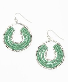 Look at this #zulilyfind! Teal & Silver Beaded Hoop Earrings #zulilyfinds