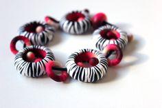 Armband Aus Fimo Zebra - weiß, schwarz