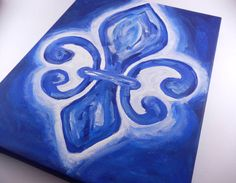 Blue Fleur De Lis Acrylic Painting by ARTbyKVB on Etsy, $20.00  Would be great for Kappa Kappa Gamma Big Little gift!