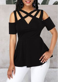 Peplum Waist Cold Shoulder Black Blouse Women Clothes For Cheap, Collections, Styles Perfectly Fit You, Never Miss It! Stylish Tops For Girls, Trendy Tops For Women, Blouses For Women, Traditional Chinese Clothing Female, Summer Blouses, Black Blouse, Short Sleeve Blouse, Casual Tops, Peplum