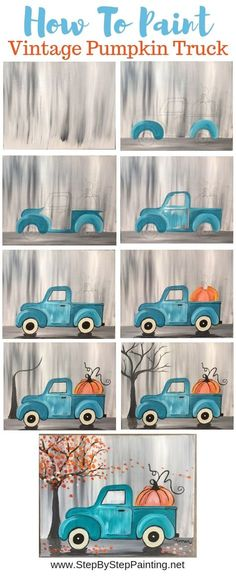 """How To Paint A Vintage Pumpkin Truck"""" Learn how to paint this absolutely adorable teal vintage truck with a pumpkin in the back! Beginners can learn how to do this with acrylic paints on an x stretched canvas This painting is super eas - # Painting Tips, Painting Techniques, Painting & Drawing, Canvas Painting Tutorials, Back Painting, Painting People, Matte Painting, Diy Canvas, Canvas Art"""