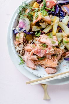 Miso Glazed Slow Roasted Salmon Salad Bowl with Fennel, Blood Orange, Beets, Avocado, and Farro in a Charred Citrus Vinaigrette. A quick & easy healthy weeknight winter recipe for citrus season! Recipe, photos, and styling by Beth Kirby of Local Milk.