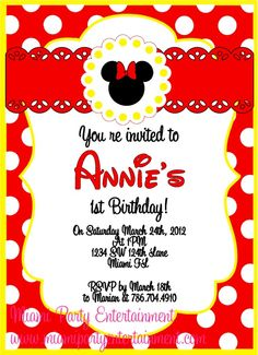 minnie mouse invitations | Traditional Red Minnie Mouse Invitation | Miami Party Entertainment