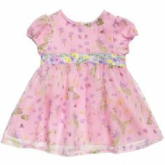 Young Versace Baby Girls Pink Floral Silk Dress at Childrensalon.com