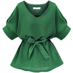 Choies Green V Neck Bow Tie Short Sleeve Blouse (38 RON) ❤ liked on Polyvore featuring tops, blouses, shirts, blusas, green, short sleeve shirts, pussy bow blouses, green shirt, tie top and green short sleeve shirt
