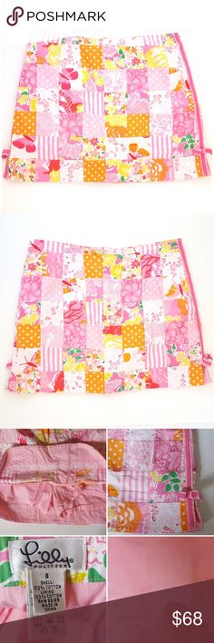 Lilly Pulitzer Patchwork Skort So pretty!!! Amazing multi-color patchwork and lace detail. Hidden zipper with inside button closure on back. Excellent condition - note small blue stain on inside of skort (not noticeable when wearing!) No Trades! Lilly Pulitzer Skirts