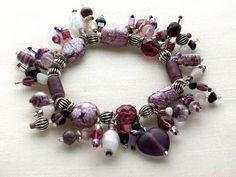 Heart charm bracelet of mauve lavender & white by MadMamaMiller