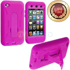 Amazon.com: myLife (TM) True Hot Pink Tough Series (Body Armor Defender Glove) Case for iPod 4/4S (4G) 4th Generation iTouch (Built In Kicks...