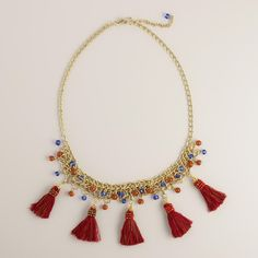Gold Chain with Red Fringe Tassels Necklace | World Market