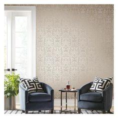 Rich metallic pattern wallpaper Art Deco Wallpaper, Metallic Wallpaper, Pattern Wallpaper, Your Space, Dining Bench, Love Seat, Accent Chairs, Zelda, York