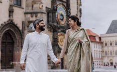 Lovely Couple with Traditional Pakistani Clothes Prague Photos, Pakistani Outfits, Photo Location, Engagement Photos, Chef Jackets, Cool Photos, Vacation, Traditional, Czech Republic