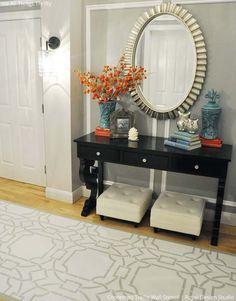 Stenciled floor in entrace, foyer, mudroom - More ideas | Contempo Trellis Stencil by Royal Design Studio
