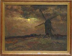 Anthony Keizer (1897-1961), r.o. gesigneerd, olieverf op doek, standerdmolen in polderlandschap bij maanlicht