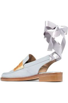 MR by Man Repeller - Two-tone Satin Loafers - Silver - IT39.5