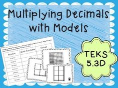 Help your students identify decimal models with this task card activity set. In this activity students will view different task cards with different decimal multiplication models on them. Students will need to match equations to the models as well as find the product for the equation.