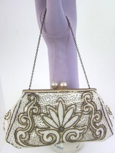 21073e75c9d5 Love to use vintage accessories to pair with modern fashion! Vintage Hand  Made French Evening Bag Handbag Purse White