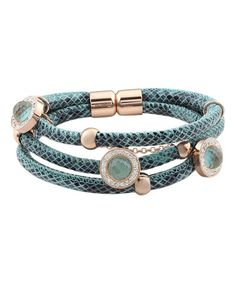 Another great find on #zulily! Cubic Zirconia & Blue Leather Charm Bracelet #zulilyfinds