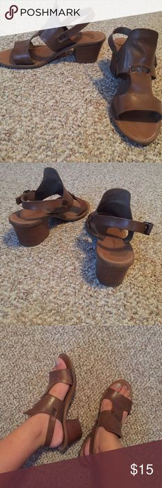 Wooden/Leather Sandals Sandals with a leather upper top and thick wooden heel. Super cute and comfortable to walk in. In good condition. Man made sole and made in Italy. Barbara Barbieri Shoes Sandals