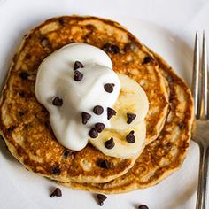 Banana-Chocolate Chip Pancakes. Used 1 cup wheat flour and 1/2 cup white flour.